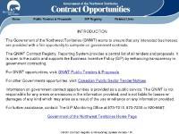 contractregistry.nt.ca Public Tenders & Proposals, BIP Registry, Related Links