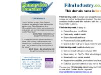 The domain name FilmIndustry.co.uk is for sale. Own it today. Find out how...