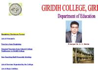 giridihcollege.com Mandatory Disclosure Format, List of Principal's, List of Teachers in B.Ed.