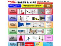 Main Event: Posts & Ropes, Display Boards, Sign Stands, & More For Sale or Hire