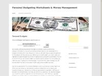 Personal Budgeting Worksheets & Money Management