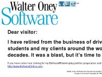 Walter Oney Software