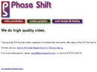 phaseshift.com logo, motion graphics, web design & hosting