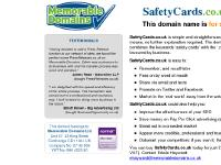 The domain name SafetyCards.co.uk is for sale. Own it today. Find out how...