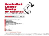 Socialist Labor Party of America, Karl Marx, Daniel DeLeon, Daniel De Leon, De
